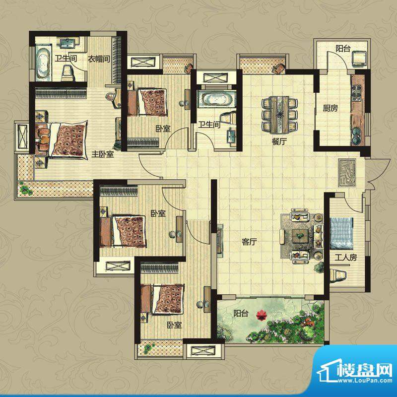 南昌华南城户型图一期10#楼F户面积:141.00平米