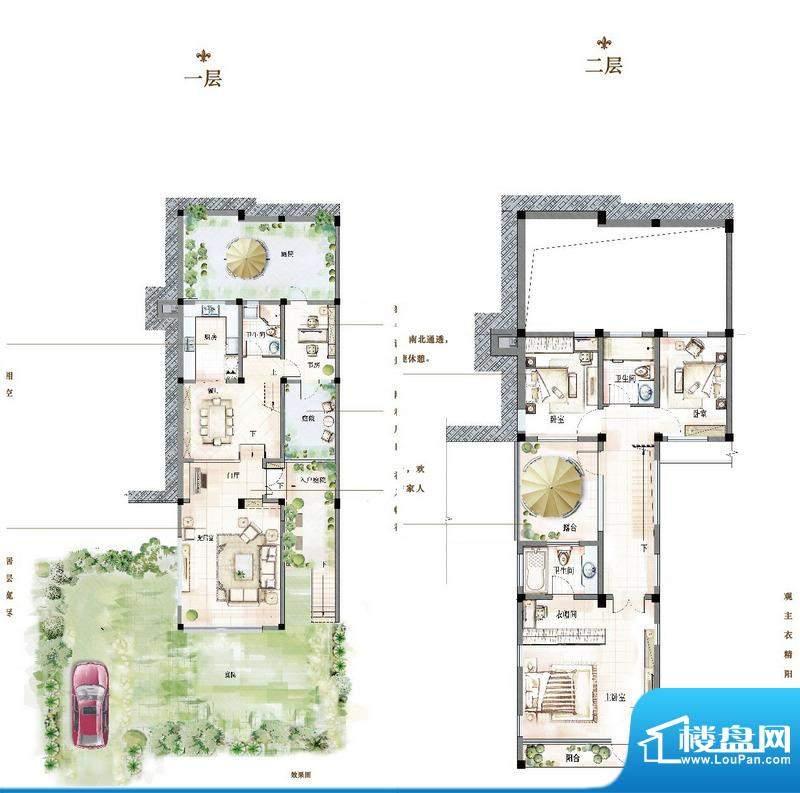 万科青岛小镇户型图E-1户型 4室面积:183.00平米