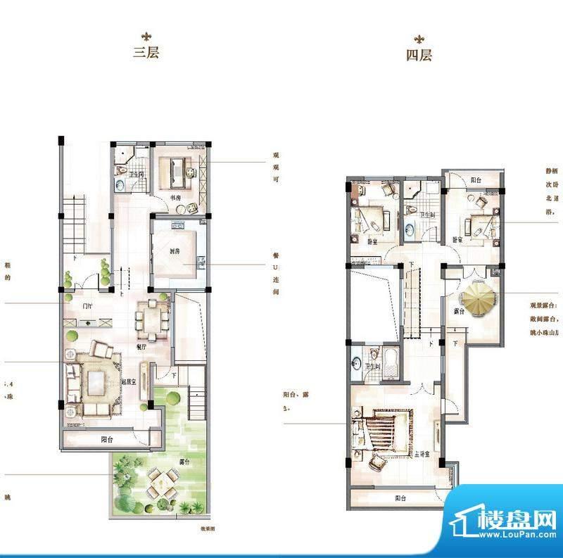 万科青岛小镇户型图D-2户型 4室面积:174.00平米