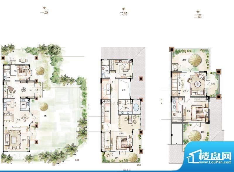 万科青岛小镇户型图A-3户型 5室面积:324.00平米
