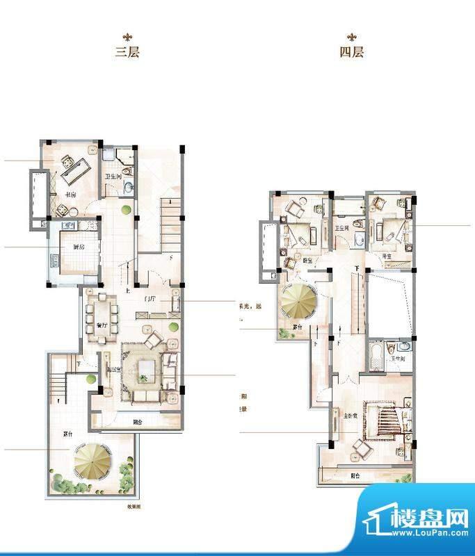 万科青岛小镇户型图D-1户型 4室面积:180.00平米