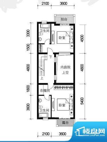 银盛泰德郡户型图G户型二层平面面积:76.50平米