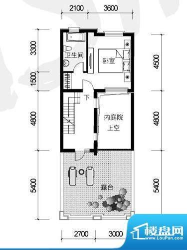 银盛泰德郡户型图G户型三层平面面积:43.40平米