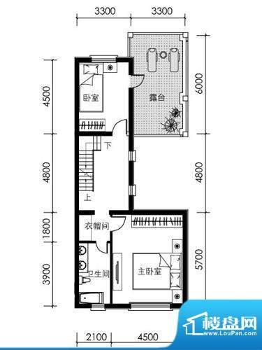 银盛泰德郡户型图A户型二层平面面积:69.38平米