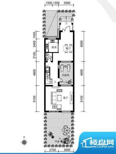 银盛泰德郡户型图B户型一层平面面积:75.62平米