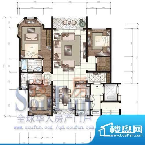 颐和星苑户型图C户型 3室2厅2卫面积:158.00平米