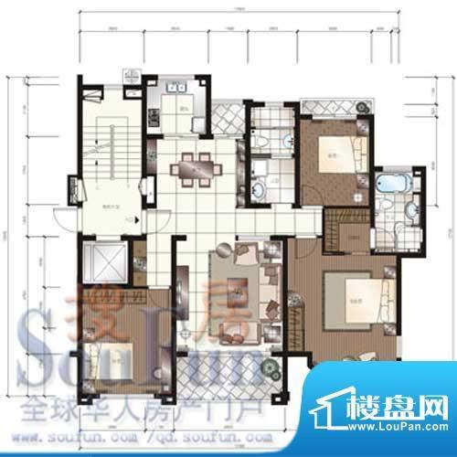 颐和星苑户型图E户型 2室2厅2卫面积:147.00平米