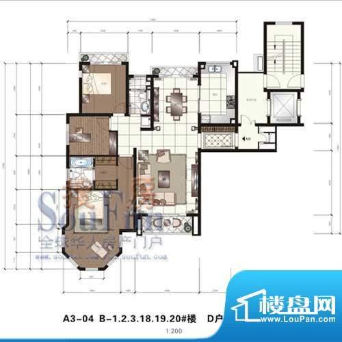 颐和星苑户型图D户型 2室2厅2卫面积:150.00平米