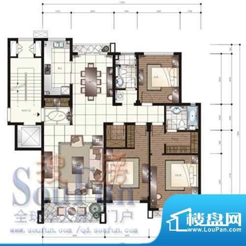 颐和星苑户型图B户型 3室2厅2卫面积:160.00平米