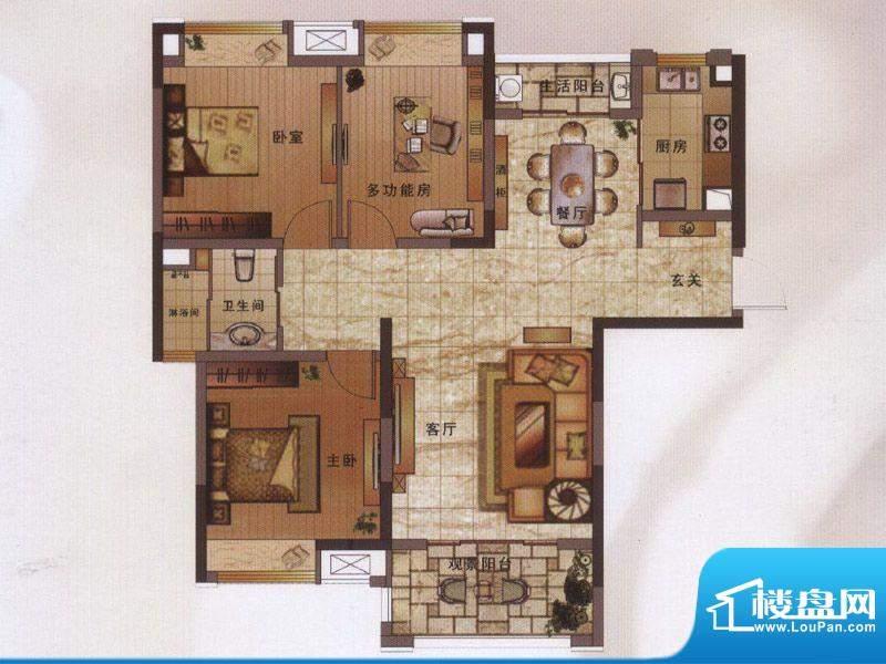 绿地新都会户型图阔景高层11#楼面积:106.00平米