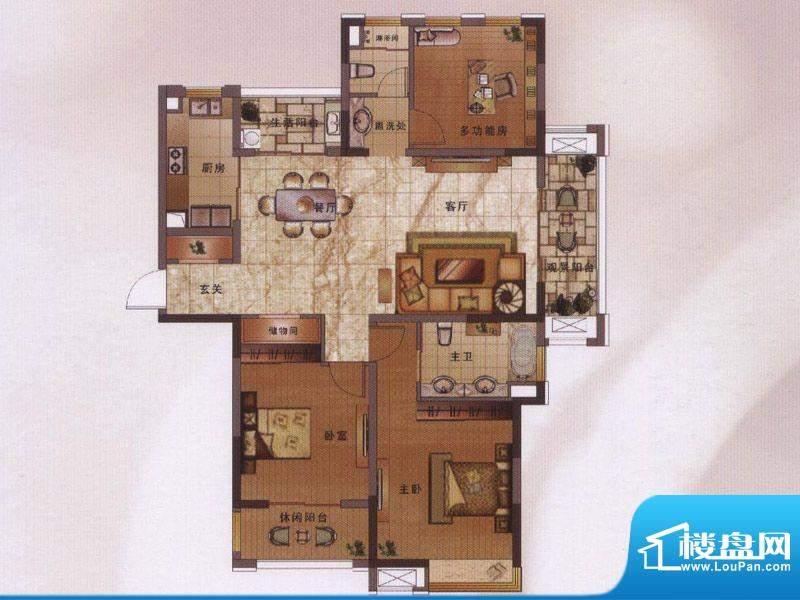 绿地新都会户型图阔景高层11#楼面积:134.00平米