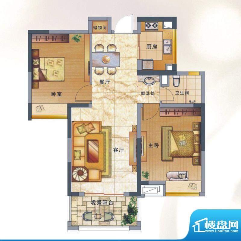 绿地新都会户型图揽湖高层8#楼面积:89.00平米