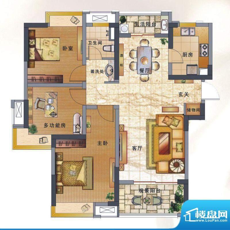 绿地新都会户型图揽湖高层8#楼面积:107.00平米