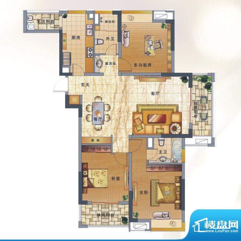 绿地新都会户型图揽湖高层8#楼面积:136.00平米