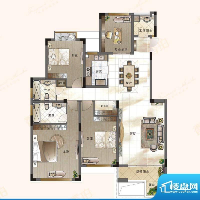 绿地新都会户型图电梯花院洋墅面积:147.01平米