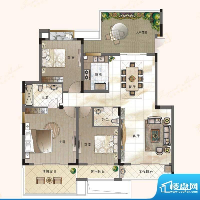 绿地新都会户型图电梯花院洋墅面积:119.89平米