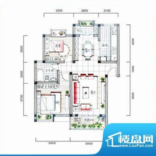 银河城户型图C2户型 2房2厅1卫面积:90.80平米