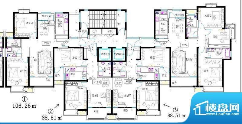 蓝图二期效果图安子A3项目1号楼平面图