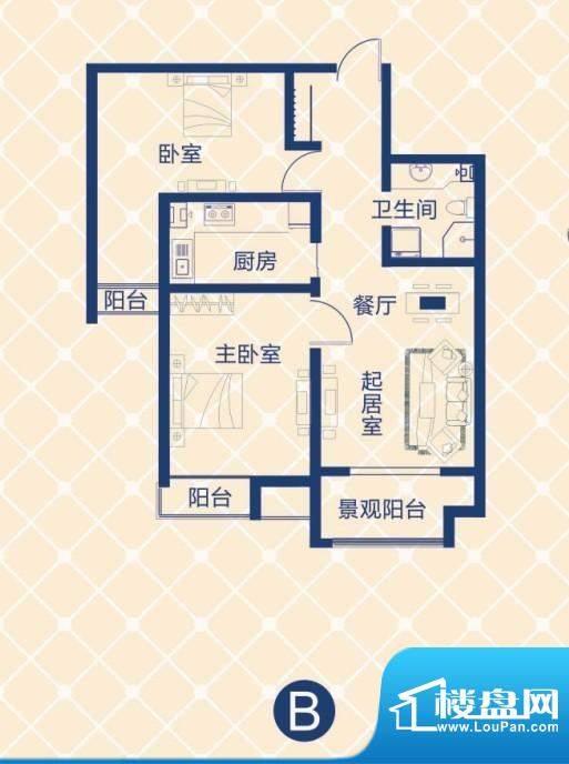 蓝图二期蓝图二期户型图B户型 2室2厅1卫面积 94.59平米户型图 青岛