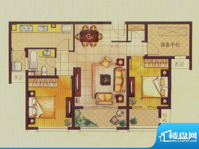 世茂公园美地户型图B2户型 2室面积:96.00平米
