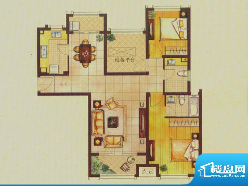 世茂公园美地户型图B3户型 2室面积:110.00平米