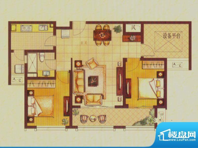 世茂公园美地户型图C2户型 2室面积:98.00平米