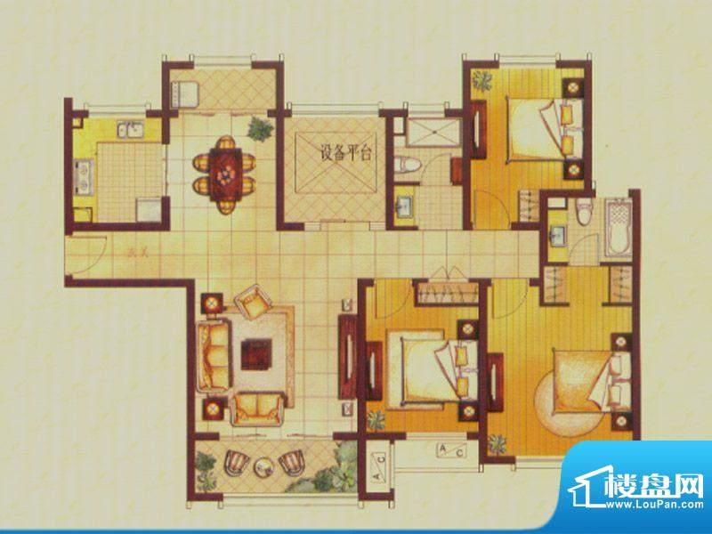 世茂公园美地户型图C3户型 3室面积:139.00平米