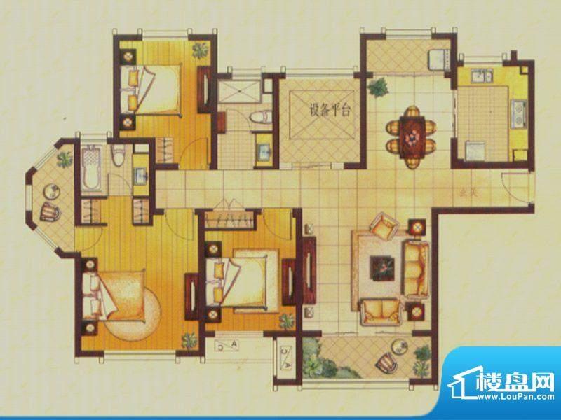 世茂公园美地户型图C1户型 3室面积:140.00平米