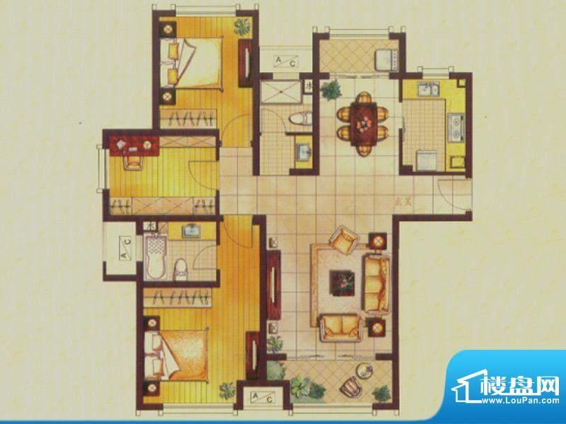 世茂公园美地户型图B1户型 3室面积:115.00平米