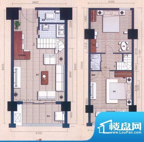 领秀公馆户型图B2复式户型 3室面积:43.76平米
