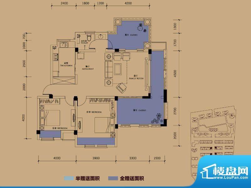 半岛蓝湾户型图B4户型 2室2厅1面积:138.00平米