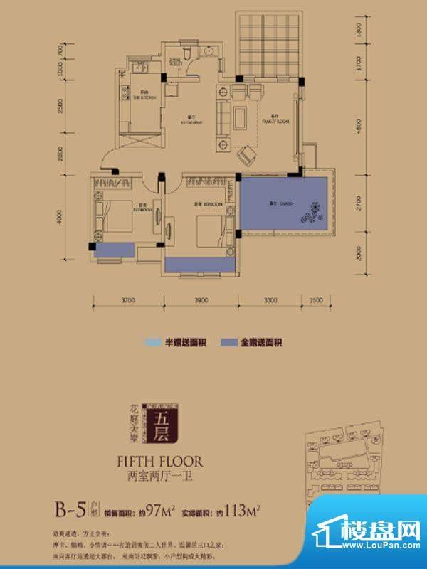 半岛蓝湾户型图B5户型 2室2厅1面积:113.00平米
