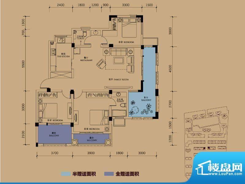 半岛蓝湾户型图B3户型 3室2厅2面积:148.00平米