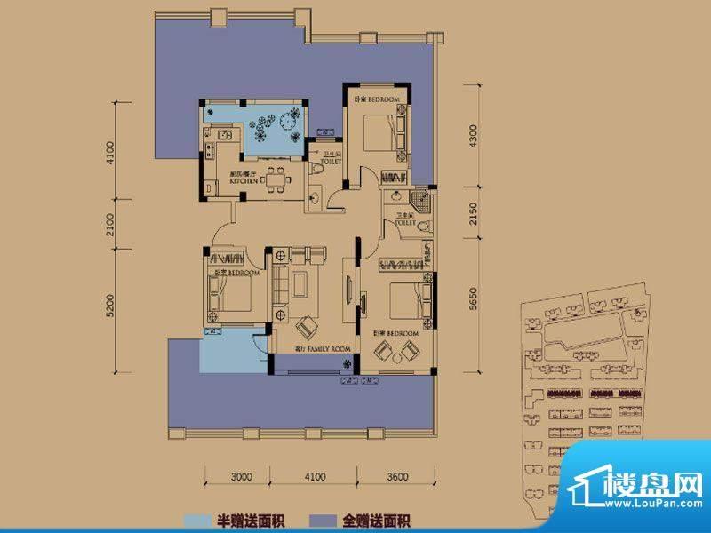 半岛蓝湾户型图E1户型 3室2厅2面积:210.00平米