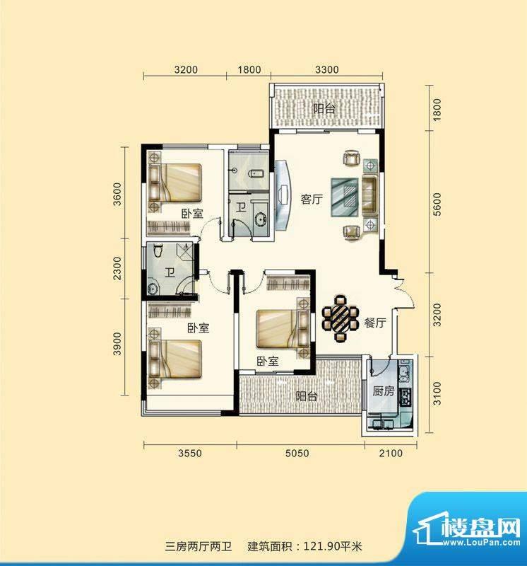 紫东公馆户型图12 3面积:121.90m平米
