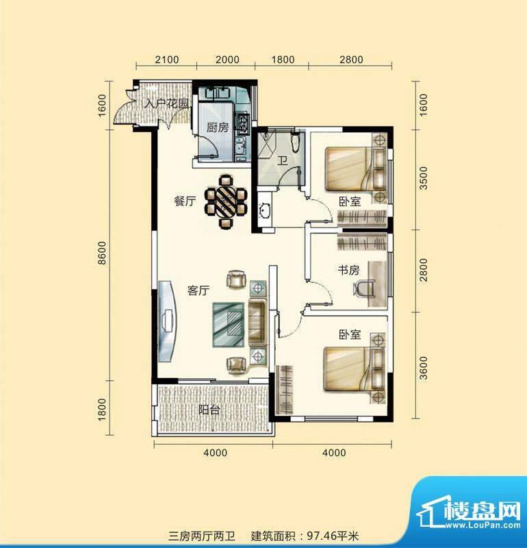紫东公馆户型图16 3面积:97.46m平米