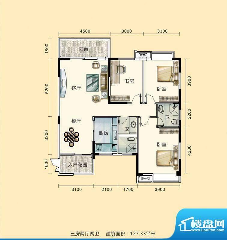 紫东公馆户型图19 3面积:127.33m平米
