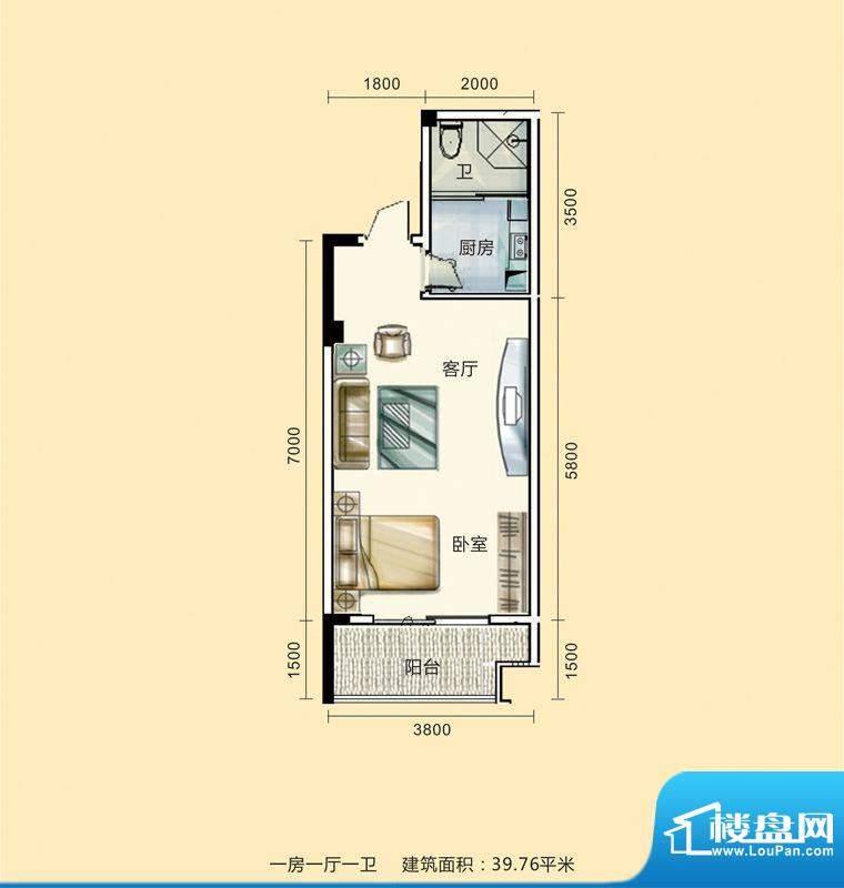 紫东公馆户型图23 1面积:39.76m平米