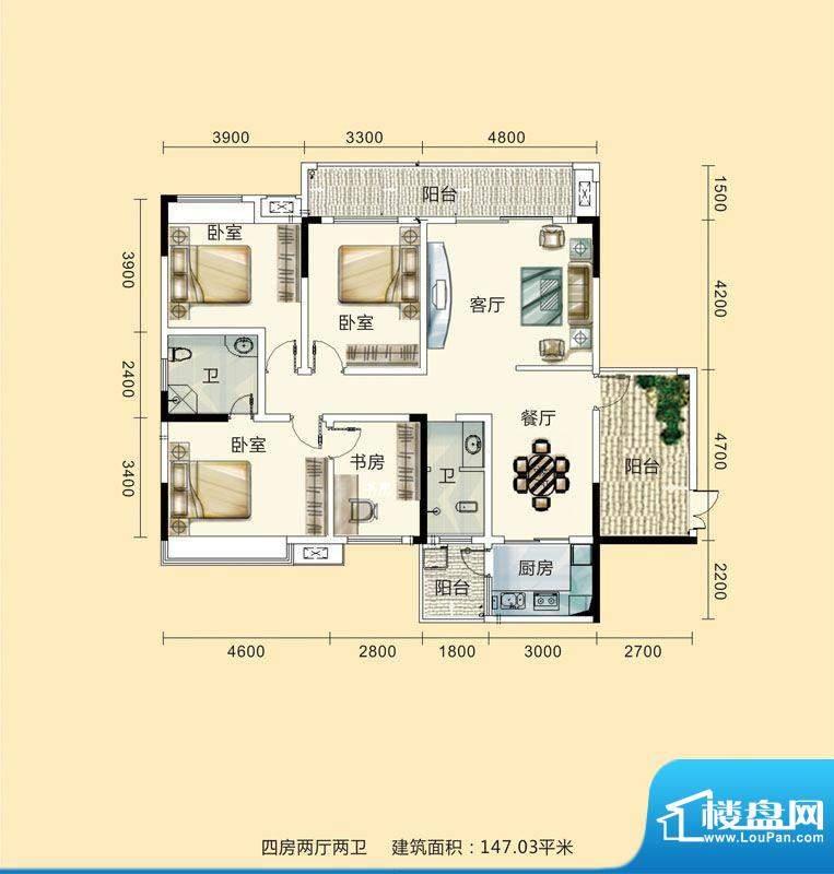 紫东公馆户型图01 4面积:147.03m平米