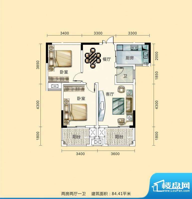 紫东公馆户型图04 2面积:84.41m平米