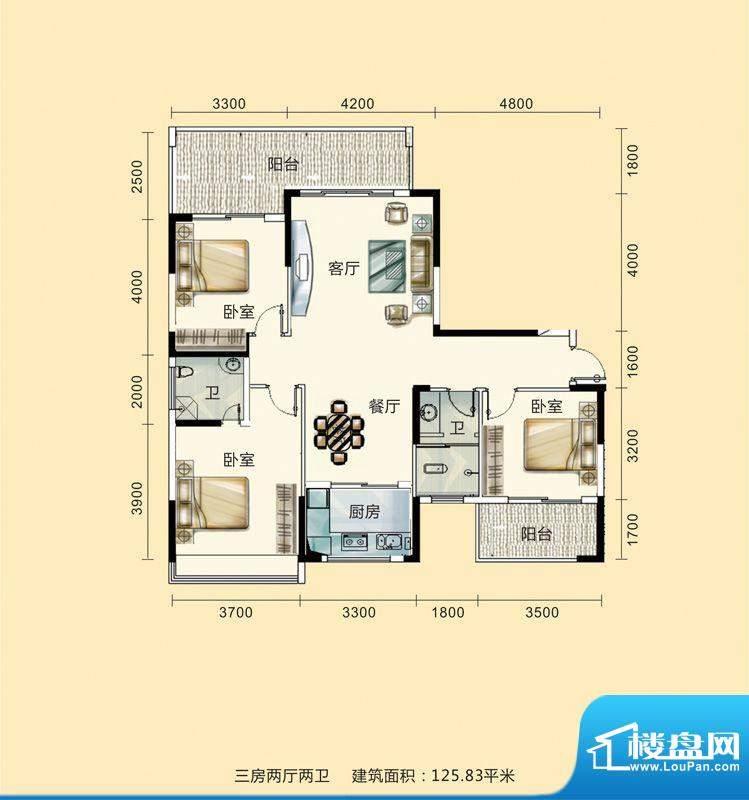 紫东公馆户型图06 3面积:125.83m平米