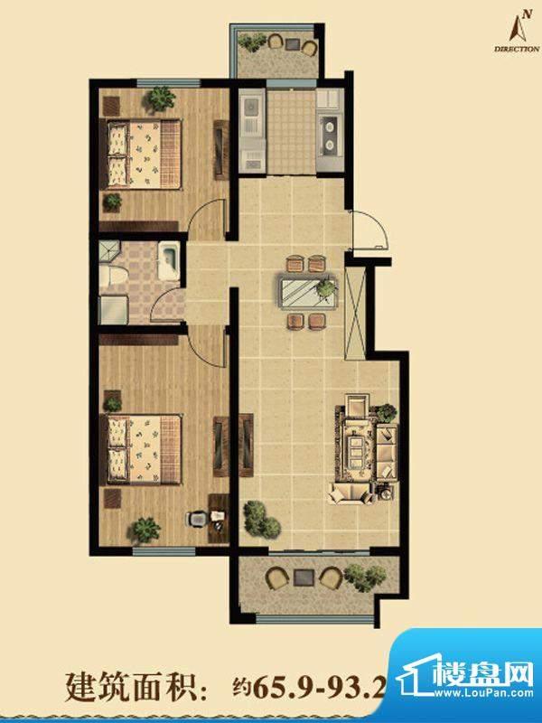 智慧之城户型图g户型 2室2厅1卫面积:65.90平米