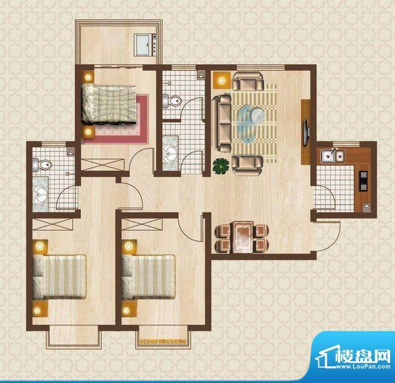 天洲沁园户型图2-06户型 3室2厅面积:111.58平米