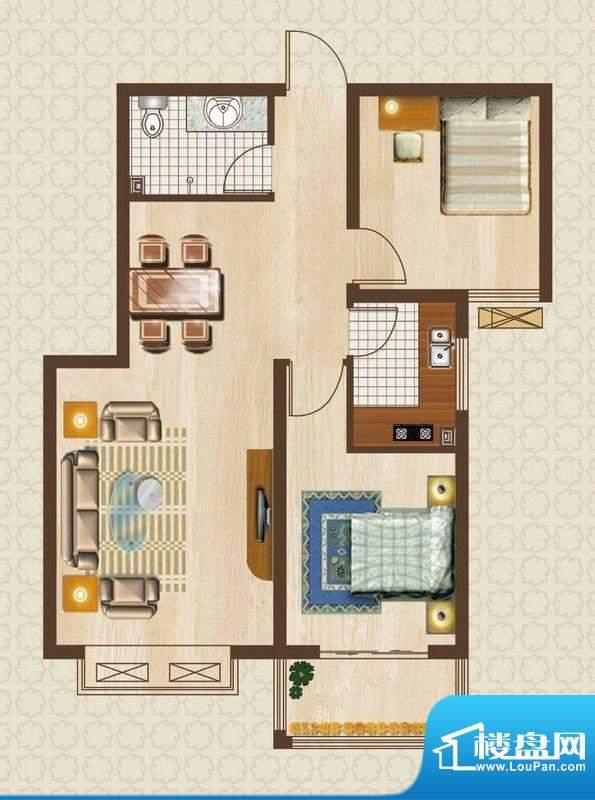 天洲沁园户型图2-02户型 2室2厅面积:92.06平米
