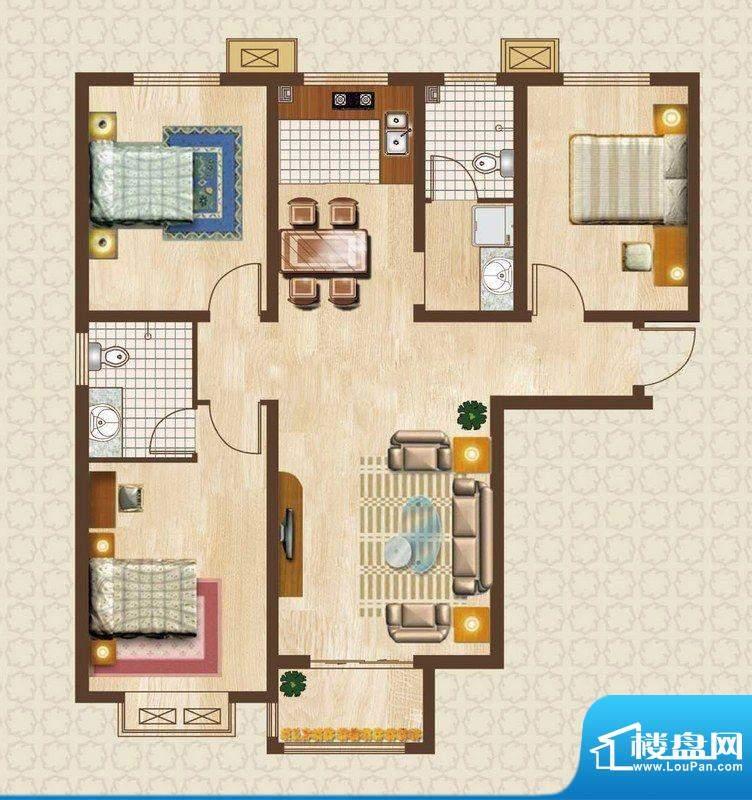 天洲沁园户型图户型-2-01 3室2面积:123.56平米