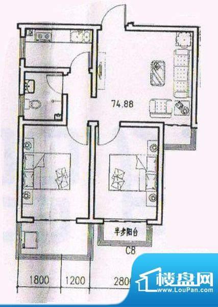 天洲沁园 2室 户型图