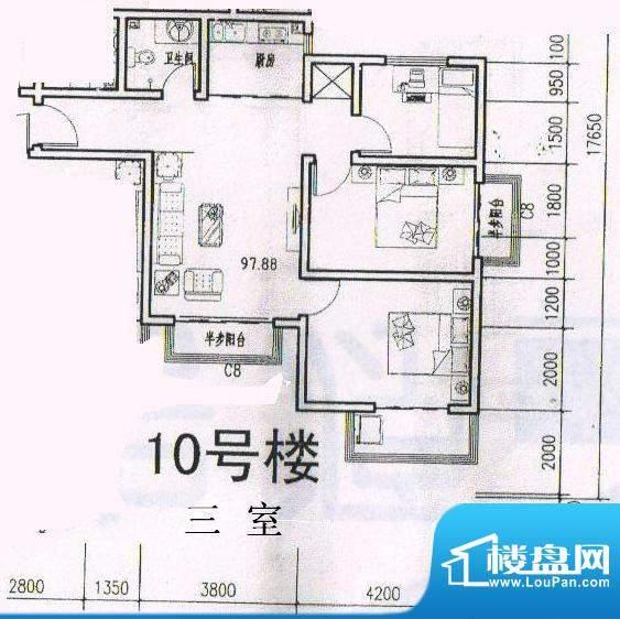 天洲沁园 3室 户型图面积:97.88平米