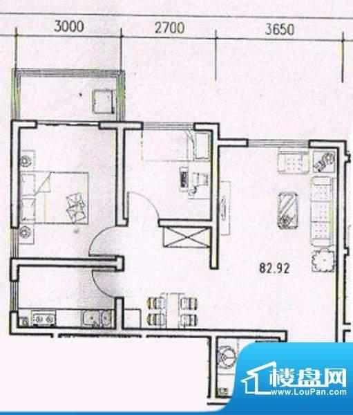 天洲沁园2室 户型图面积:82.92平米