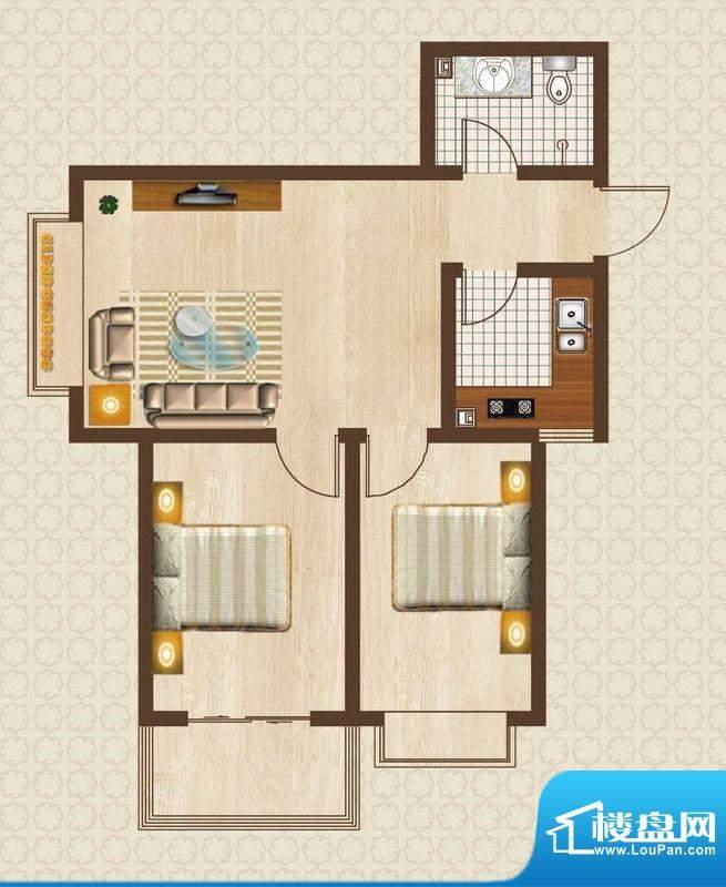 天洲沁园户型图1-03户型2室1面积:81.09平米