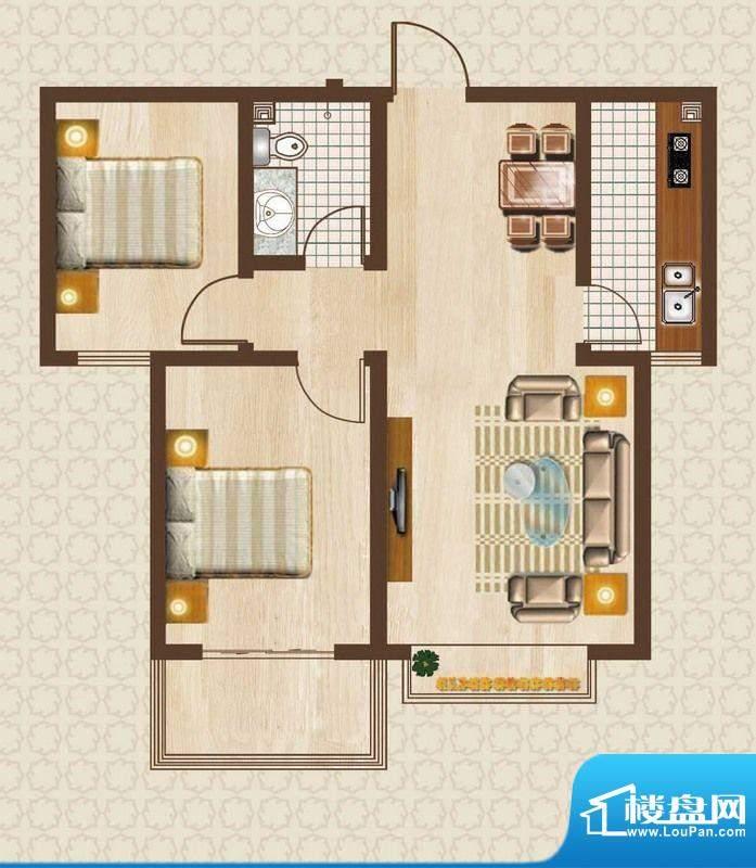 天洲沁园户型图5-02户型 2室2厅面积:82.46平米
